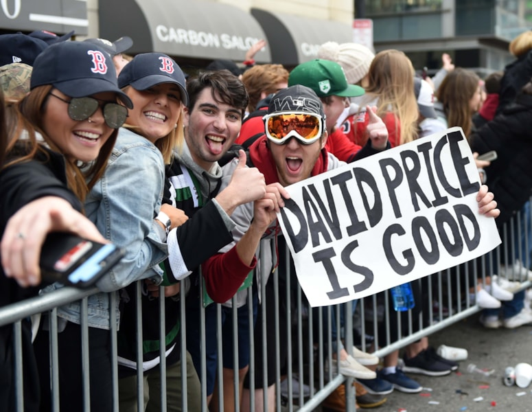 Oct 31, 2018; Boston, MA, USA; A fan holds a sign during the Boston Red Sox 2018 World Series Championship parade in Boston. Mandatory Credit: Bob DeChiara-USA TODAY Sports