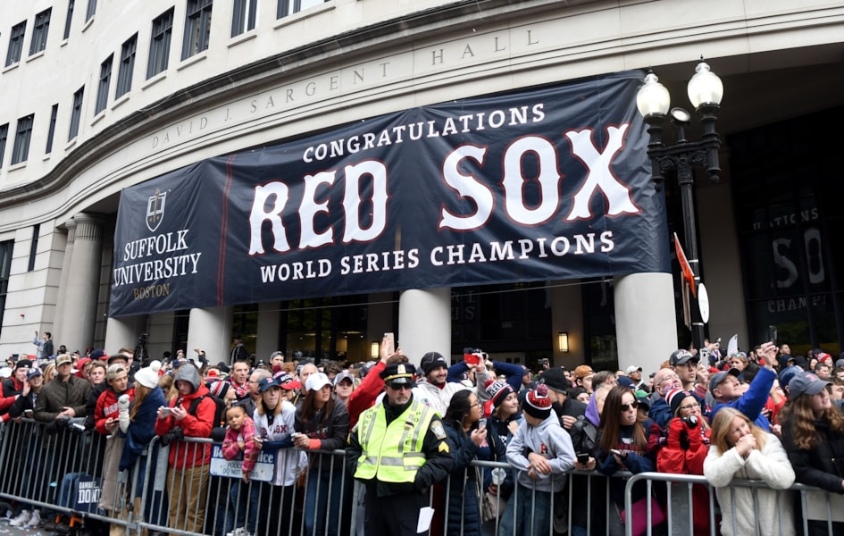 Oct 31, 2018; Boston, MA, USA; A sign congratulating the Boston Red Sox hangs outside a building during the 2018 World Series Championship parade in Boston. Mandatory Credit: Bob DeChiara-USA TODAY Sports