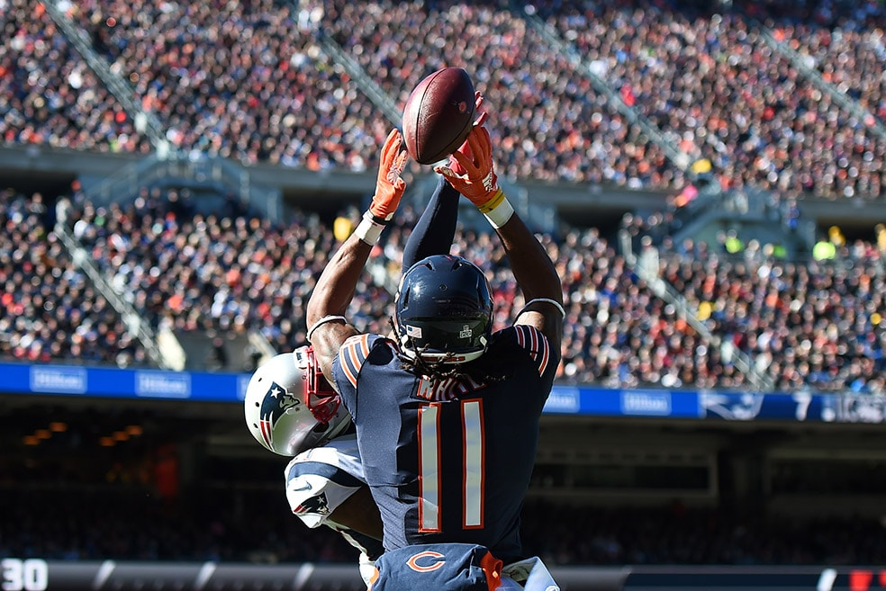 CHICAGO, IL - OCTOBER 21, 2018: J.C. Jackson of the New England Patriots breaks up a pass intended for Kevin White of the Chicago Bears in the second quarter at Soldier Field. (Photo by Stacy Revere/Getty Images)