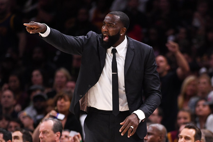 June 8, 2018; Cleveland, OH: Cleveland Cavaliers center Kendrick Perkins during the second quarter in Game 4 of the 2018 NBA Finals against the Golden State Warriors at Quicken Loans Arena. The Warriors defeated the Cavaliers 108-85 to complete a four-game sweep. (Kyle Terada-USA TODAY Sports)