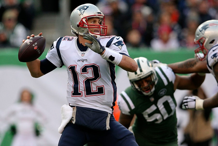 25th November 2018; East Rutherford, New Jersey: New England Patriots quarterback Tom Brady throws a pass against the New York Jets at MetLife Stadium in the third quarter. (Brad Penner-USA TODAY Sports)