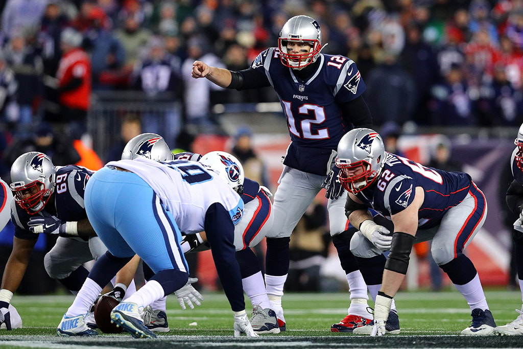 FOXBOROUGH, MA - JANUARY 13, 2018: Tom Brady of the New England Patriots reacts at the line of scrimmage in the second quarter of the AFC Divisional Playoff game against the Tennessee Titans at Gillette Stadium. (Photo by Maddie Meyer/Getty Images)