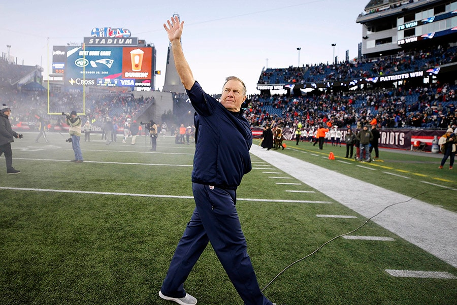 Dec 23, 2018; Foxborough, MA New England Patriots head coach Bill Belichick waves into the stands after their 24-12 win over the Buffalo Bills at Gillette Stadium. (Winslow Townson-USA TODAY Sports)
