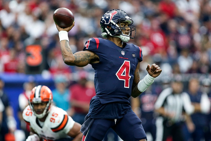Dec 2, 2018; Houston, TX: Houston Texans quarterback Deshaun Watson attempts a pass during the fourth quarter against the Cleveland Browns at NRG Stadium. (Troy Taormina-USA TODAY Sports)