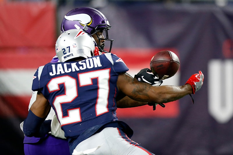 Dec 2, 2018; Foxborough, MA: New England Patriots cornerback J.C. Jackson breaks up a pass intended for Minnesota Vikings wide receiver Aldrick Robinson during the fourth quarter at Gillette Stadium. (Greg M. Cooper-USA TODAY Sports)