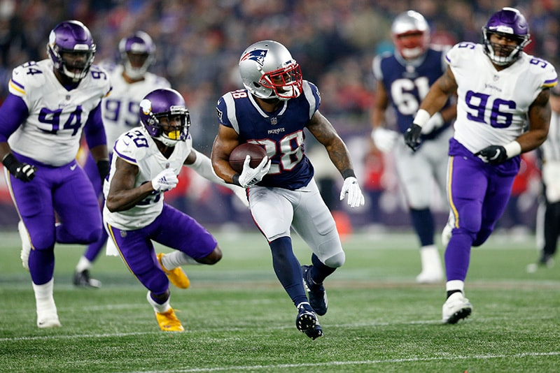 Dec 2 2018 Foxborough MA USA New England Patriots running back James White carries the ball during the second quarter against the Minnesota Vikings at Gillette Stadium