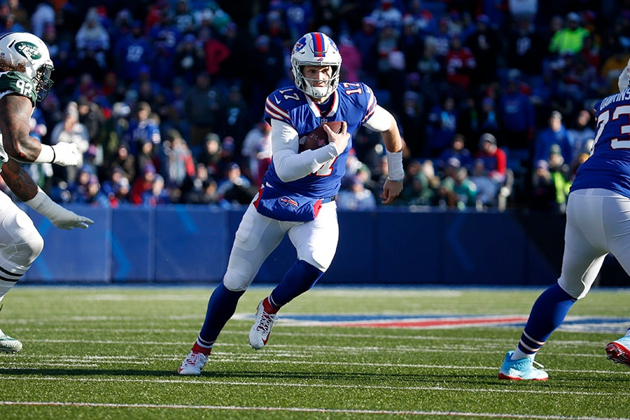 Dec 9, 2018; Orchard Park, NY: Buffalo Bills quarterback Josh Allen runs the ball during the first half against the New York Jets at New Era Field. (Timothy T. Ludwig-USA TODAY Sports)