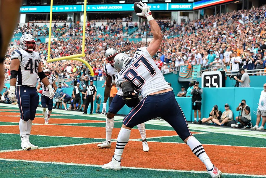 Dec 9, 2018; Miami Gardens, FL: New England Patriots tight end Rob Gronkowski spikes the ball after a touchdown against the Miami Dolphins during the first half at Hard Rock Stadium. (Jasen Vinlove-USA TODAY Sports)