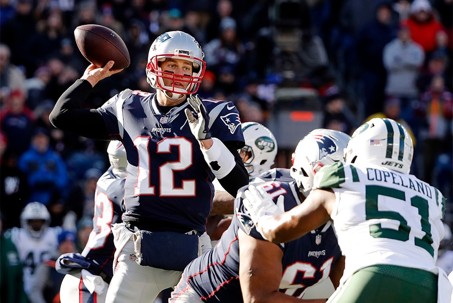 Dec 30, 2018; Foxborough, MA, USA; New England Patriots quarterback Tom Bradythrows against the New York Jets during the first half at Gillette Stadium. (Winslow Townson-USA TODAY Sports)