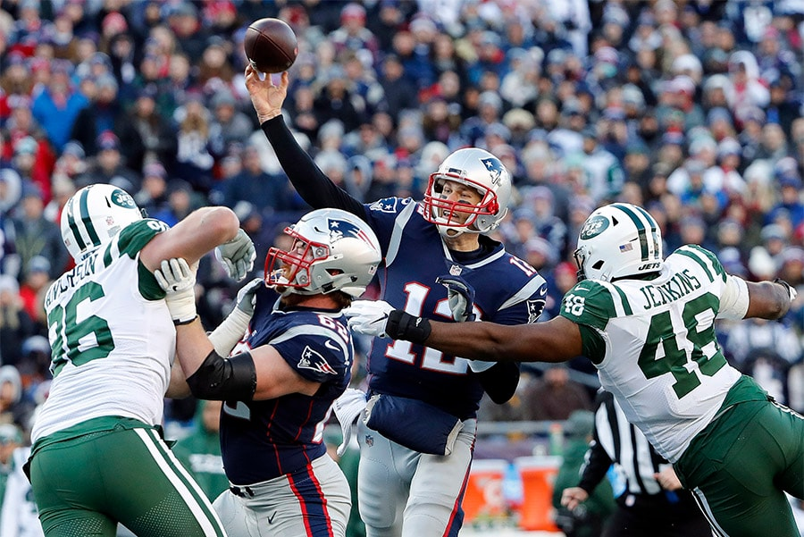 Dec 30, 2018; Foxborough, MA, USA; New England Patriots quarterback Tom Brady throws under pressure from New York Jets outside linebacker Jordan Jenkins during the first half at Gillette Stadium. (Winslow Townson-USA TODAY Sports)