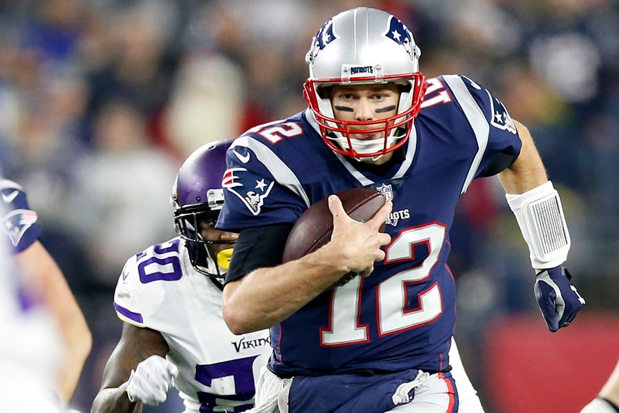 Dec 2, 2018; Foxborough, MA: New England Patriots quarterback Tom Brady carries the ball during the first quarter against the Minnesota Vikings at Gillette Stadium. (Greg M. Cooper-USA TODAY Sports)