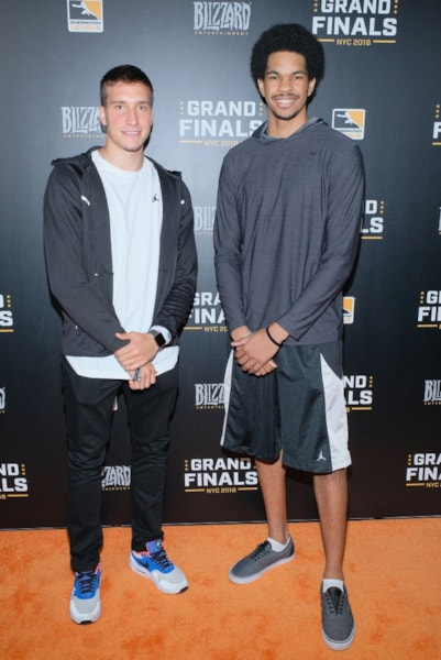 NEW YORK, NY - JULY 28:  Bogdan Bogdanovic and Jarrett Allen attend Overwatch League Grand Finals - Day 2  at Barclays Center on July 28, 2018 in New York City.  (Photo by Matthew Eisman/Getty Images for Blizzard Entertainment )