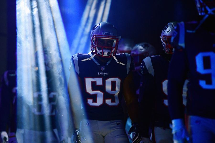 FOXBOROUGH, MA - DECEMBER 02: Albert McClellan of the New England Patriots walks through the tunnel before the game against the Minnesota Vikings at Gillette Stadium. (Photo by Adam Glanzman/Getty Images)