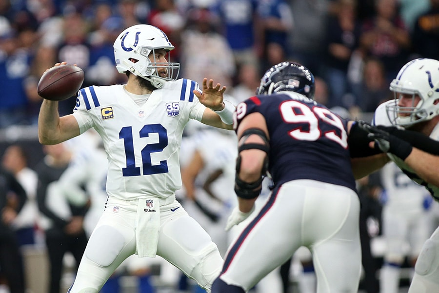 Jan 5, 2019; Houston, TX: Indianapolis Colts quarterback Andrew Luck is pressured by Houston Texans defensive end J.J. Watt in the first half in a AFC Wild Card playoff football game at NRG Stadium. (Troy Taormina-USA TODAY Sports)