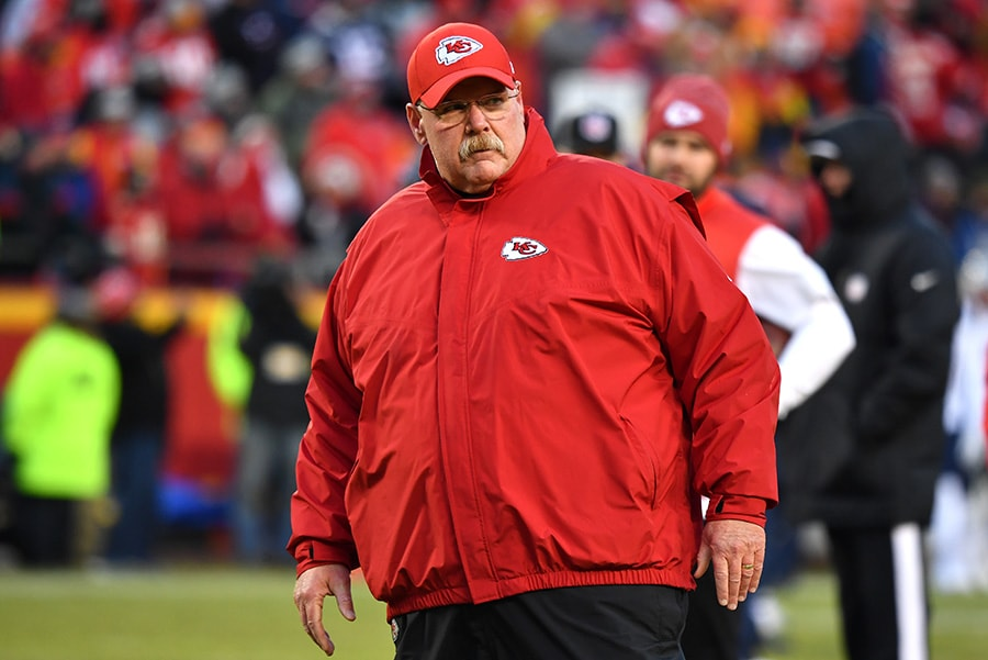 KANSAS CITY, MISSOURI - JANUARY 20, 2019: Head coach Andy Reid of the Kansas City Chiefs looks on before the AFC Championship Game at Arrowhead Stadium. (Photo by Peter Aiken/Getty Images)