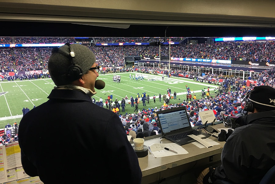 Bob Socci of 98.5 The Sports Hub calls the action as the New England Patriots take on the Tennessee Titans in the 2017 AFC Divisional Playoff at Gillette Stadium in Foxborough, Mass. on Jan. 13, 2018. (Matt Dolloff/WBZ-FM)