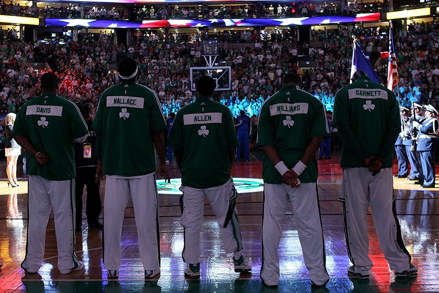 BOSTON - MAY 28: (L-R) Glen Davis, Rasheed Wallace;Tony Allen, Sheldon Williams and Kevin Garnett of the Boston Celtics stand for the National Anthem against the Orlando Magic in Game Six of the Eastern Conference Finals during the 2010 NBA Playoffs at TD Garden on May 28, 2010. (Photo by Elsa/Getty Images)