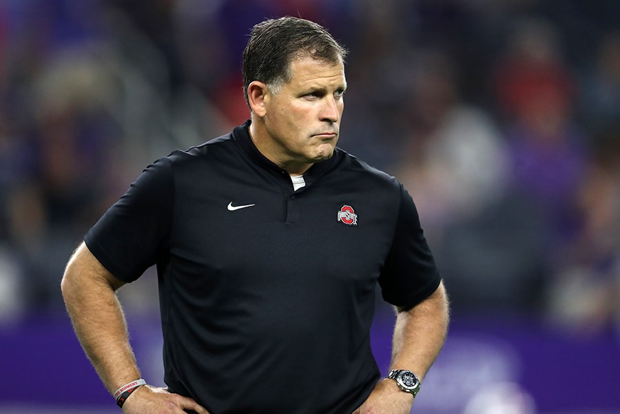 Sep 15, 2018; Arlington, TX: Ohio State Buckeyes defensive coordinator Greg Schiano on the field prior to the game against the Texas Christian Horned Frogs at AT&T Stadium. (Matthew Emmons-USA TODAY Sports)