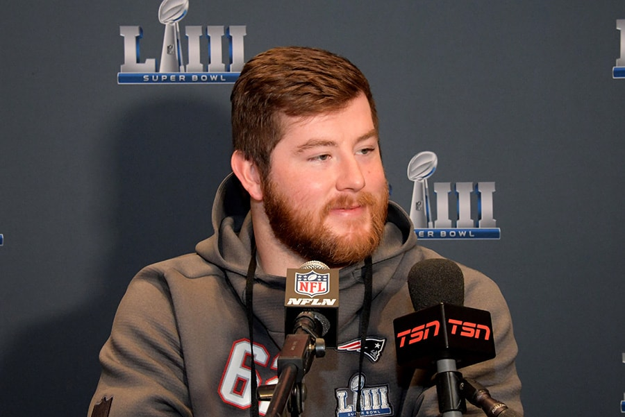 Jan 29, 2019; Atlanta, GA: New England Patriots guard Joe Thuney addresses the media during a press conference at the Hyatt Regency Atlanta. (Kirby Lee-USA TODAY Sports)