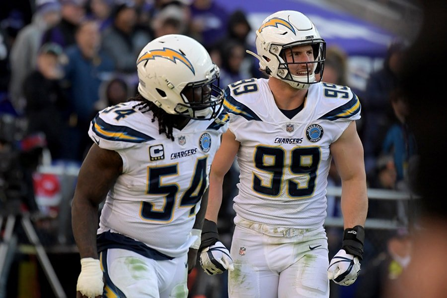 Jan 6, 2019; Baltimore, MD: Los Angeles Chargers defensive end Joey Bosa (right) and defensive end Melvin Ingram (left) celebrate together against the Baltimore Ravens during an AFC Wild Card playoff football game at M&T Bank Stadium. (Kirby Lee-USA TODAY Sports)