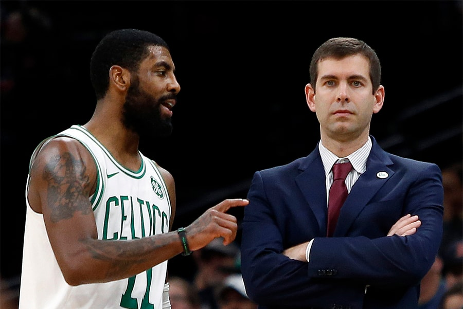 Dec 19, 2018; Boston, MA: Boston Celtics guard Kyrie Irving talks with head coach Brad Stevens during the second half against the Phoenix Suns at TD Garden. (Winslow Townson-USA TODAY Sports)