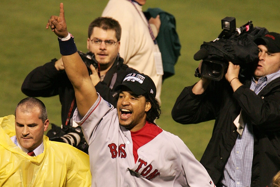 ST LOUIS - OCTOBER 27: Manny Ramirez of the Boston Red Sox celebrates after defeating the St. Louis Cardinals 3-0 in game four of the World Series on October 27, 2004 at Busch Stadium. (Photo by Al Bello/Getty Images)