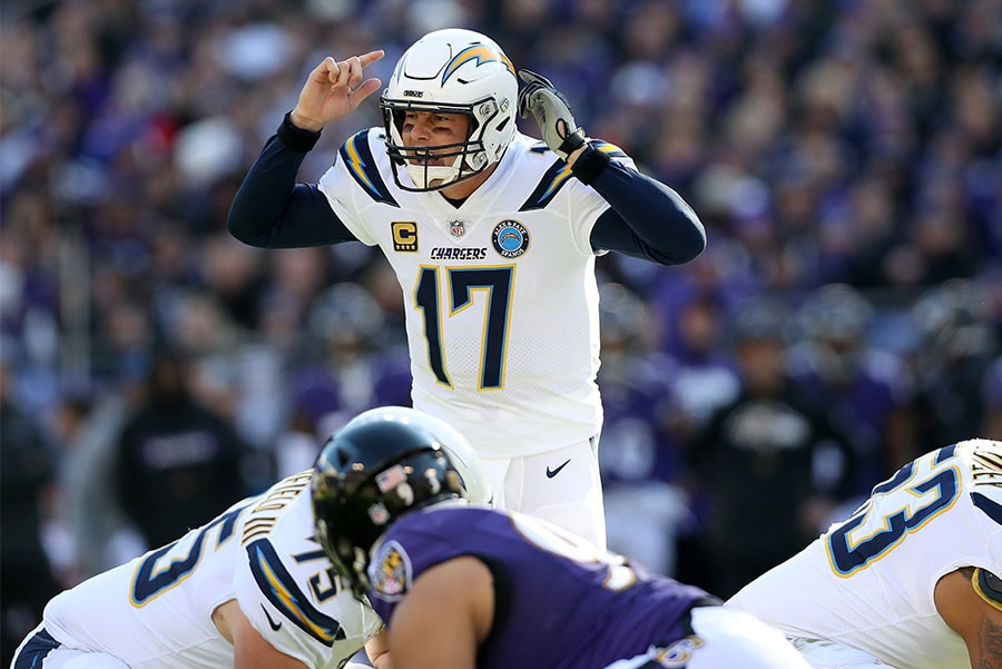 BALTIMORE, MARYLAND - JANUARY 06: Philip Rivers of the Los Angeles Chargers calls a play against the Baltimore Ravens during the first quarter in the AFC Wild Card Playoff game at M&T Bank Stadium. (Photo by Rob Carr/Getty Images)