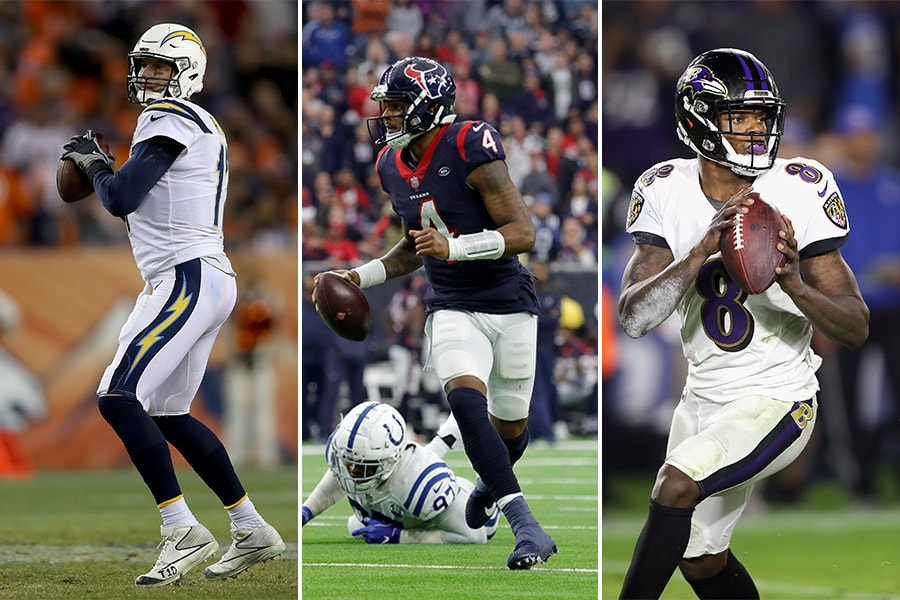 L-R: Los Angeles Chargers quarterback Philip Rivers; Houston Texans quarterback Deshaun Watson; Baltimore Ravens quarterback Lamar Jackson (Getty Images)