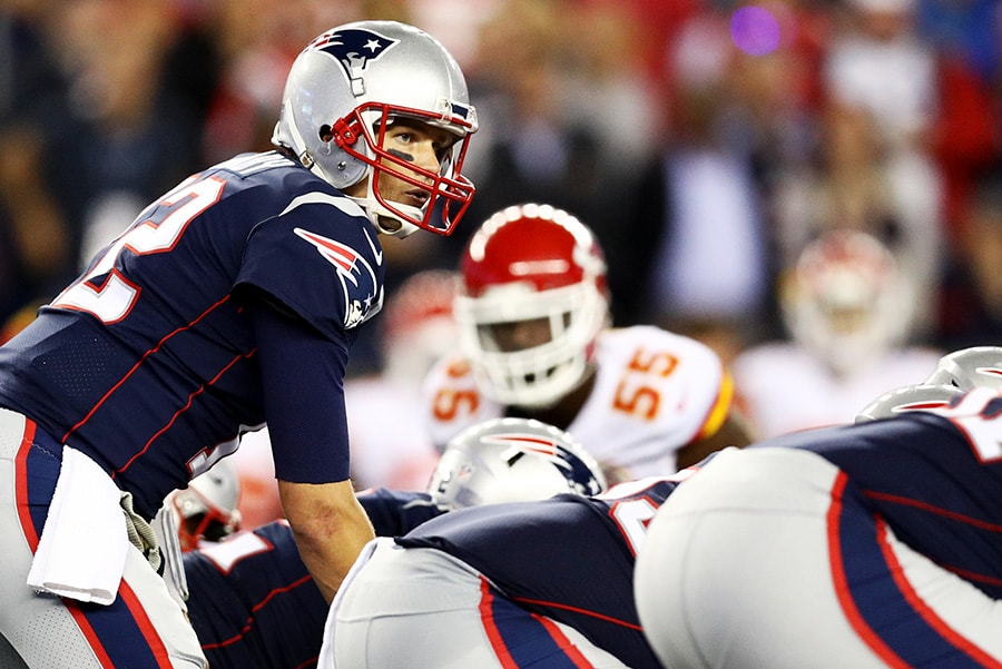 FOXBOROUGH, MA - SEPTEMBER 7, 2017: Tom Brady of the New England Patriots calls a play during the game against the Kansas City Chiefs at Gillette Stadium. (Photo by Maddie Meyer/Getty Images)