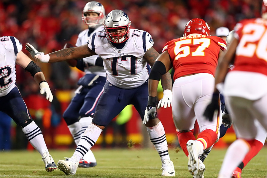 Jan 20, 2019; Kansas City, MO: New England Patriots offensive tackle Trent Brown against the Kansas City Chiefs in the AFC Championship game at Arrowhead Stadium. (Mark J. Rebilas-USA TODAY Sports)