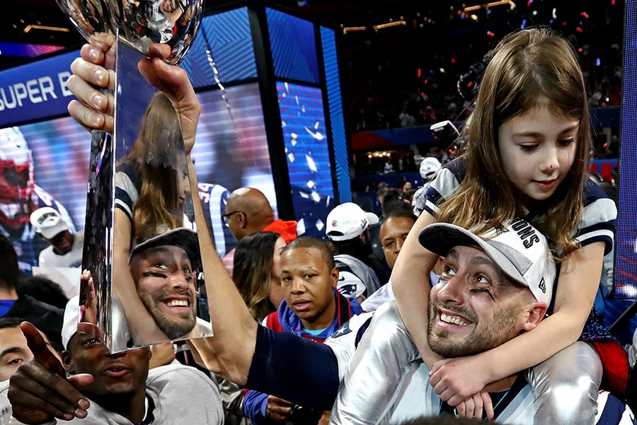 Feb 3, 2019; Atlanta, GA: New England Patriots quarterback Brian Hoyer celebrates with he Vince Lombardi Trophy after beating the Los Angeles Rams in Super Bowl LIII at Mercedes-Benz Stadium. (Matthew Emmons-USA TODAY Sports)