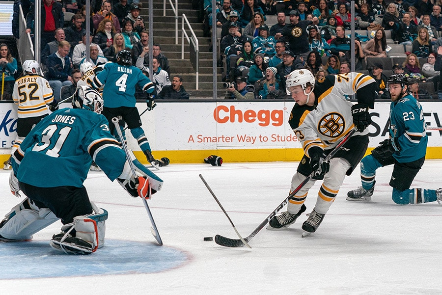 Feb 18, 2019; San Jose, CA: San Jose Sharks goaltender Martin Jones makes a save against Boston Bruins defenseman Charlie McAvoy during the second period at SAP Center at San Jose. (Neville E. Guard-USA TODAY Sports)