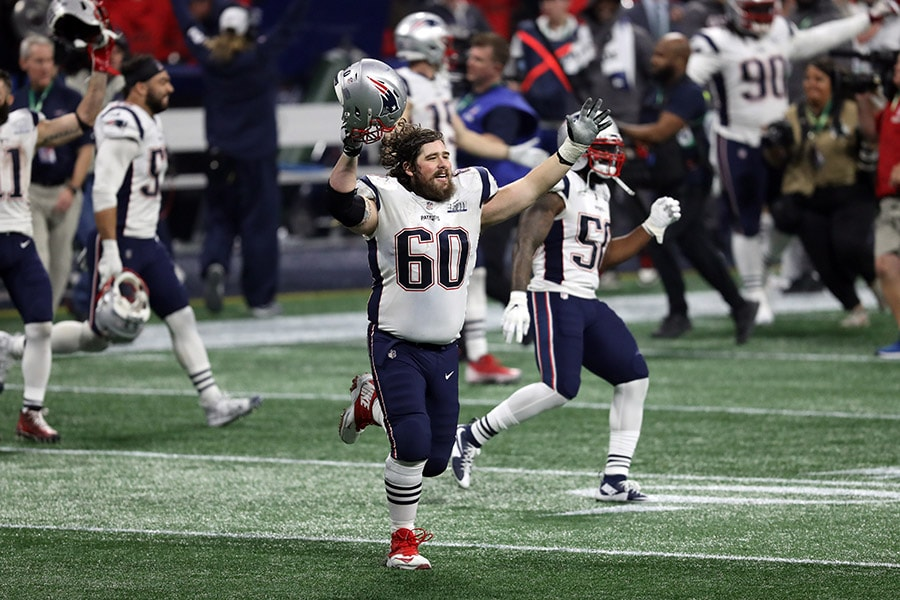 Feb 3, 2019; Atlanta, GA: New England Patriots center David Andrews and linebacker Ramon Humber celebrate after winning Super Bowl LIII against the Los Angeles Rams at Mercedes-Benz Stadium. (Brett Davis-USA TODAY Sports)