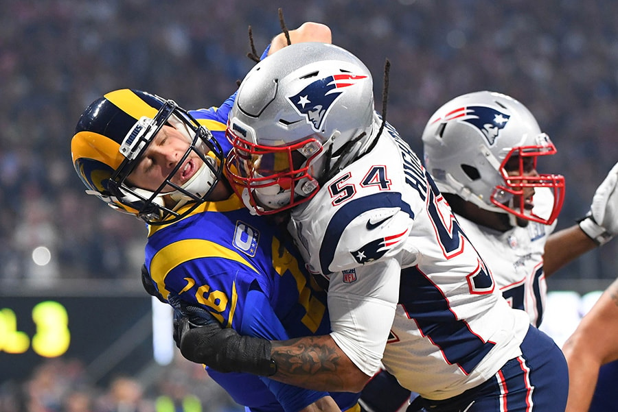 Feb 3, 2019; Atlanta, GA: Los Angeles Rams quarterback Jared Goff is tackled by New England Patriots outside linebacker Dont'a Hightower during the second half in Super Bowl LIII at Mercedes-Benz Stadium. (Robert Deutsch-USA TODAY Sports)
