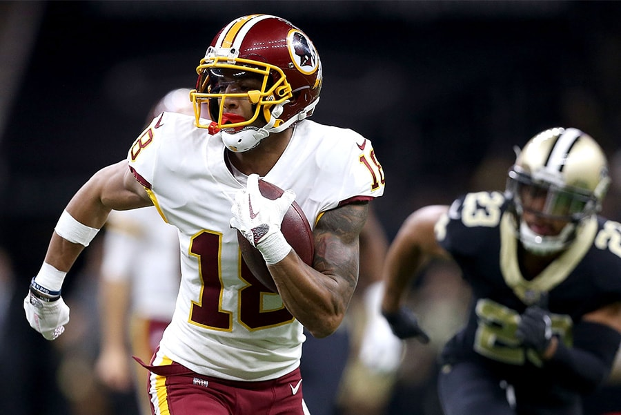 NEW ORLEANS, LA - NOVEMBER 19: Josh Doctson of the Washington Redskins runs for a first down during the first half at of a game against the New Orleans Saints at the Mercedes-Benz Superdome. (Photo by Sean Gardner/Getty Images)