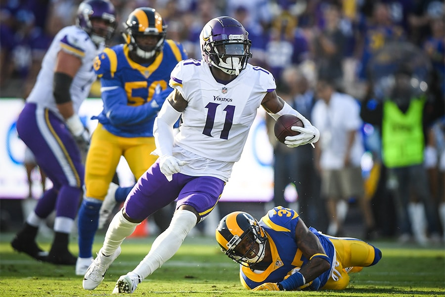 LOS ANGELES, CA - SEPTEMBER 27: Wide receiver Laquon Treadwell of the Minnesota Vikings runs after his catch in the first quarter against the Los Angeles Rams at Los Angeles Memorial Coliseum. (Photo by Harry How/Getty Images)