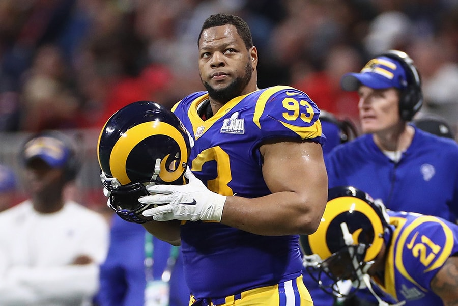 ATLANTA, GA - FEBRUARY 03: Ndamukong Suh of the Los Angeles Rams looks on in the first half during Super Bowl LIII against the New England Patriots at Mercedes-Benz Stadium. (Photo by Jamie Squire/Getty Images)