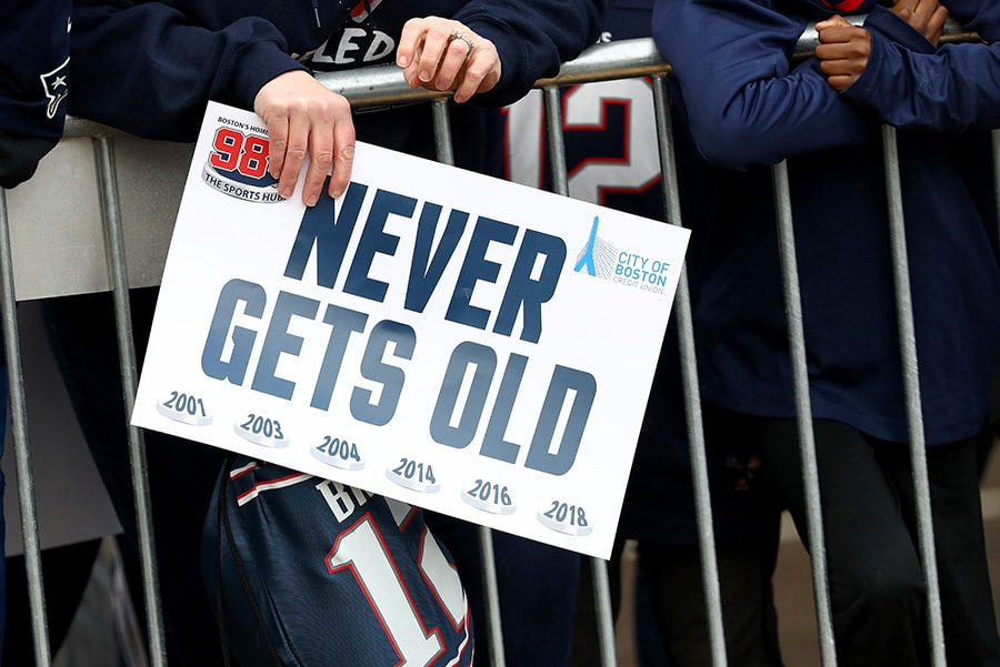 BOSTON, MASSACHUSETTS - FEBRUARY 05: A fan holds a sign to celebrate during the New England Patriots Victory Parade. (Photo by Maddie Meyer/Getty Images)