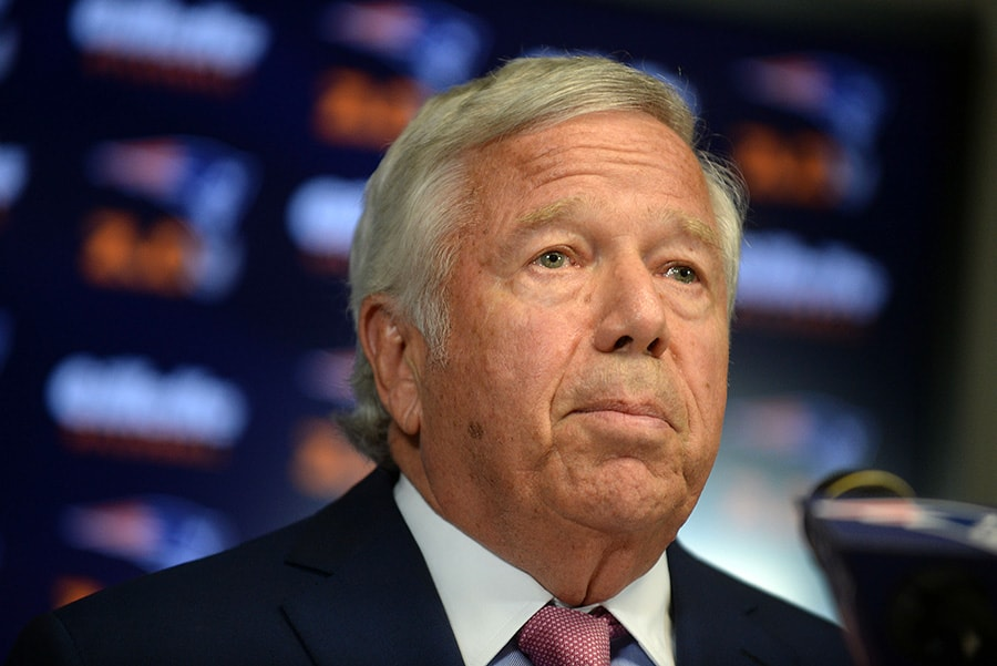 FOXBOROUGH, MA - JULY 29: New England Patriots owner Robert Kraft speaks at a press conference at Gillette Stadium July 29, 2015 in Foxborough, Massachusetts. (Photo by Darren McCollester/Getty Images)