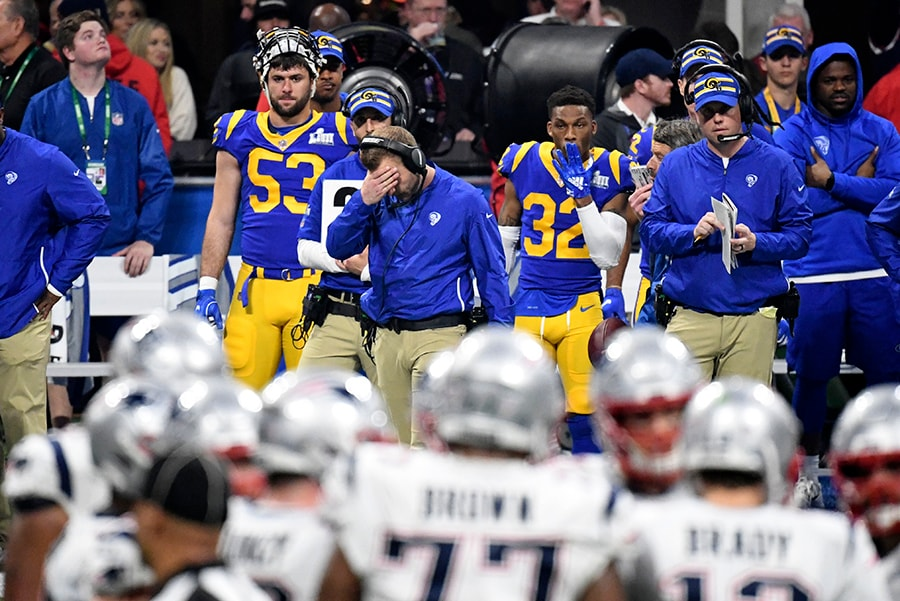 Feb 3, 2019; Atlanta, GA: Los Angeles Rams head coach Sean McVay on the sidelines in Super Bowl LIII at Mercedes-Benz Stadium. (Kirby Lee-USA TODAY Sports)