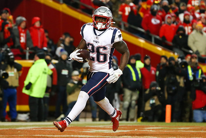 Jan 20, 2019; Kansas City, MO: New England Patriots running back Sony Michel scores a touchdown during the second half of the AFC Championship game against the Kansas City Chiefs at Arrowhead Stadium. (Jay Biggerstaff-USA TODAY Sports)