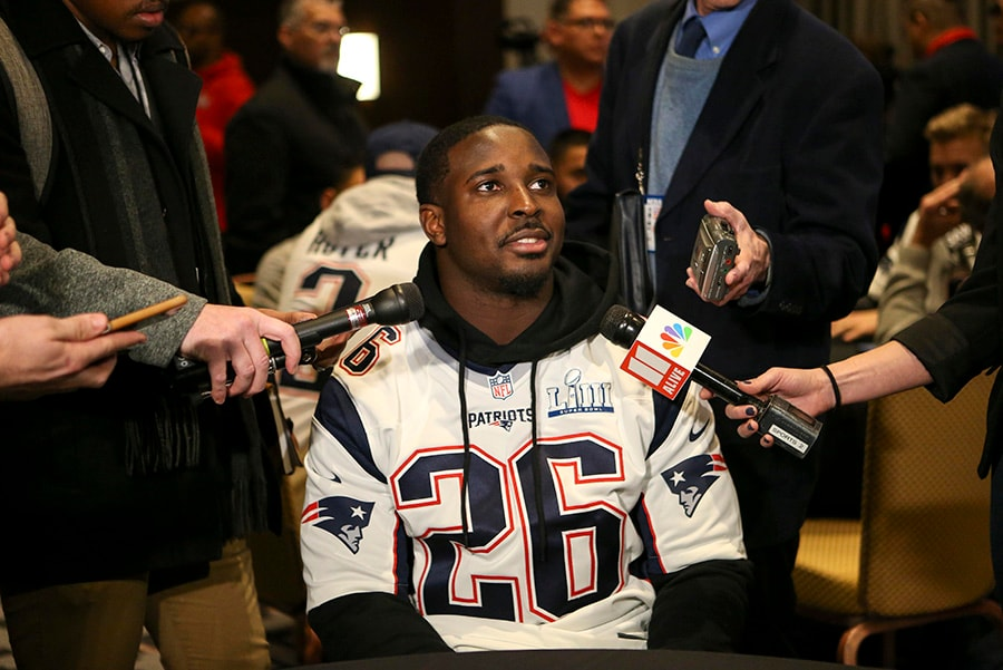 Jan 30, 2019; Atlanta, GA: New England Patriots running back Sony Michel addresses the media at a press conference for Super Bowl LIII at Hyatt Regency Atlanta. (Brett Davis-USA TODAY Sports)
