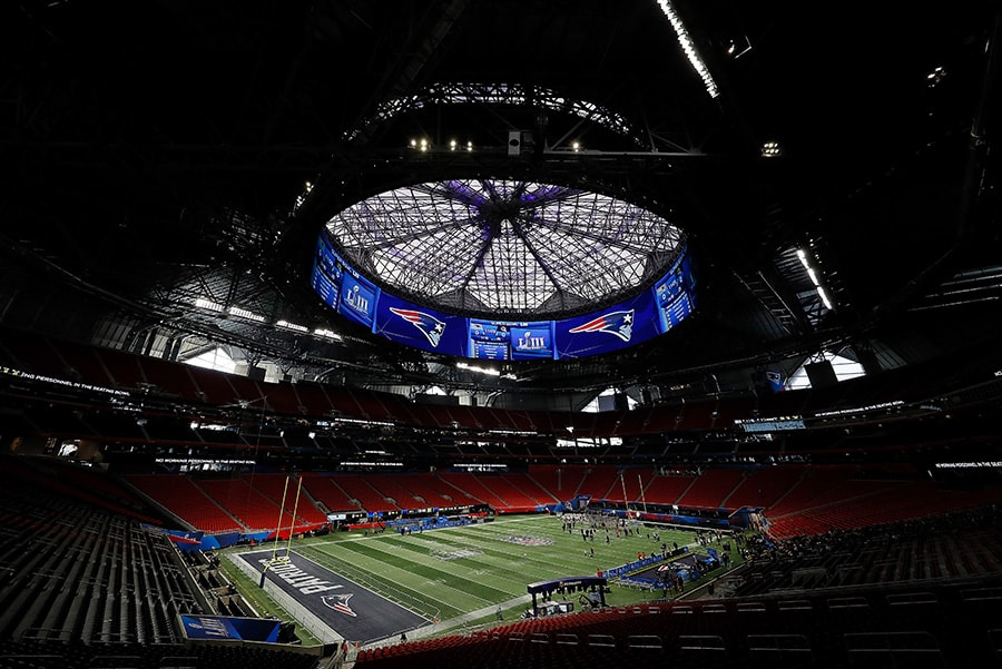 ATLANTA, GEORGIA - FEBRUARY 02: A general view of Mercedes-Benz Stadium during the New England Patriots Super Bowl LIII practice on February 02, 2019 in Atlanta, Georgia. (Photo by Kevin C. Cox/Getty Images)