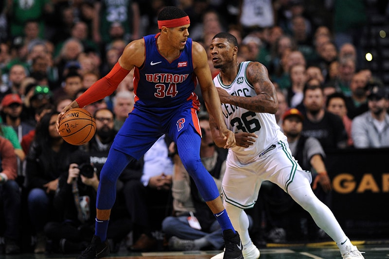 Nov 27, 2017; Boston, MA: Boston Celtics guard Marcus Smart guards Detroit Pistons forward Tobias Harris during the second half at TD Garden. (Bob DeChiara-USA TODAY Sports)