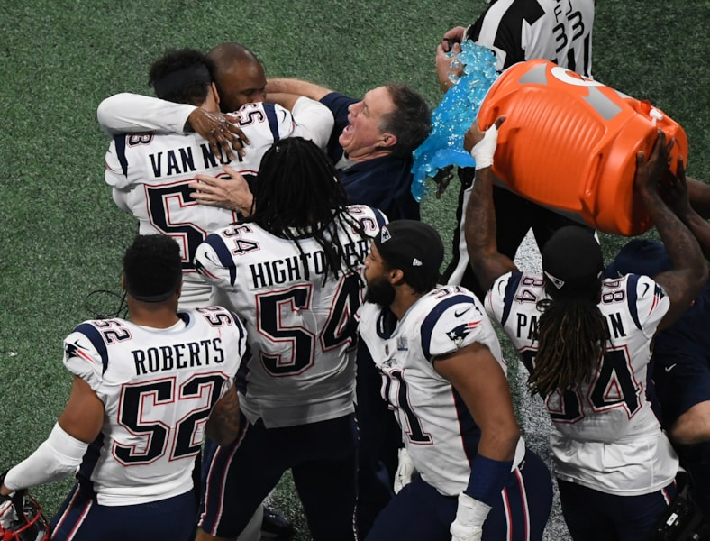 Feb 3, 2019; Atlanta, GA, USA; New England Patriots head coach Bill Belichick is doused with Gatorade after winning Super Bowl LIII against the Los Angeles Rams at Mercedes-Benz Stadium. Mandatory Credit: Richard Mackson-USA TODAY Sports
