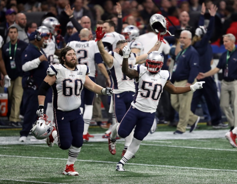Feb 3, 2019; Atlanta, GA, USA; New England Patriots center David Andrews (60) and linebacker Ramon Humber (50) celebrate after winning Super Bowl LIII against the Los Angeles Rams at Mercedes-Benz Stadium. Mandatory Credit: Brett Davis-USA TODAY Sports