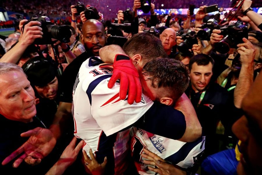 Feb 3, 2019; Atlanta, GA, USA; New England Patriots quarterback Tom Brady (12) and wide receiver Julian Edelman (11) celebrate after beating the Los Angeles Rams in Super Bowl LIII at Mercedes-Benz Stadium. Mandatory Credit: Matthew Emmons-USA TODAY Sports