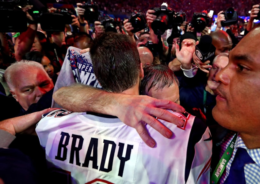 Feb 3, 2019; Atlanta, GA, USA; New England Patriots head coach Bill Belichick and quarterback Tom Brady (12) celebrate after beating the Los Angeles Rams in Super Bowl LIII at Mercedes-Benz Stadium. Mandatory Credit: Matthew Emmons-USA TODAY Sports