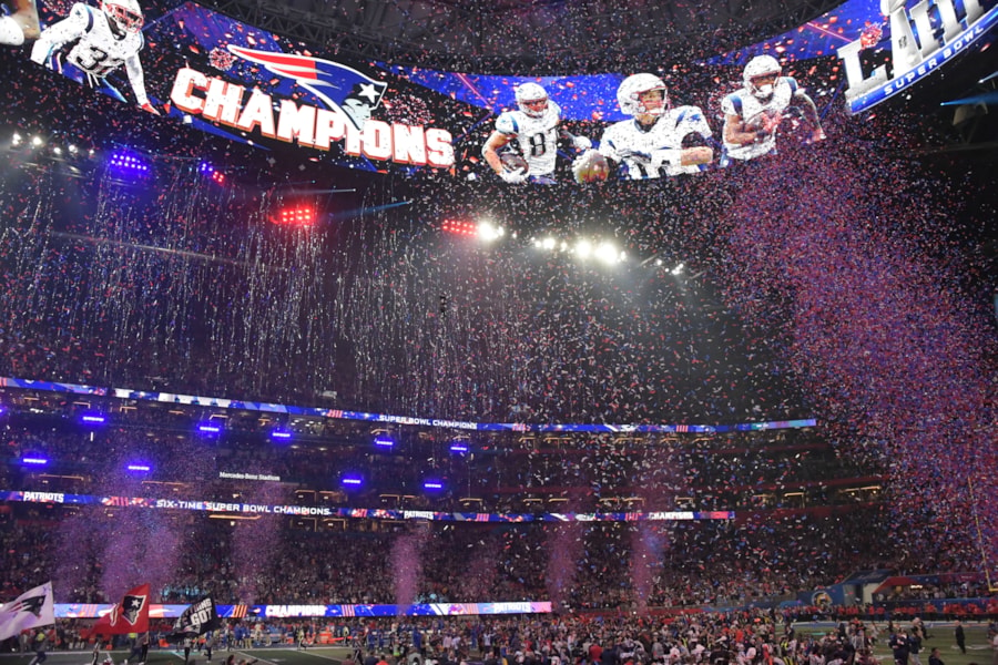 Feb 3, 2019; Atlanta, GA, USA; Confetti falls on Super Bowl Champions the New England Patriots in Super Bowl LIII at Mercedes-Benz Stadium. Mandatory Credit: Kirby Lee-USA TODAY Sports