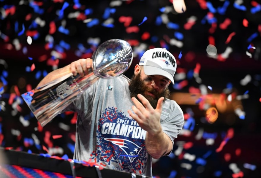 Feb 3, 2019; Atlanta, GA: New England Patriots wide receiver Julian Edelman with the Vince Lombardi Trophy after winning Super Bowl LIII against the Los Angeles Rams at Mercedes-Benz Stadium. (Christopher Hanewinckel-USA TODAY Sports)